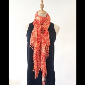 Lucky Brand Orange Floral Scarf Fringe